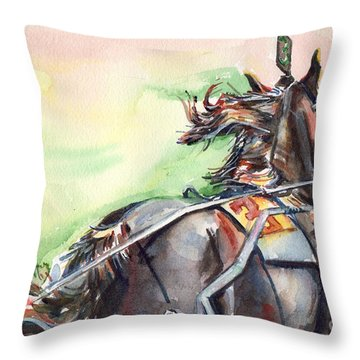 Horse Art In Watercolor Throw Pillow