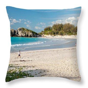 Horseshoe Bay In Bermuda Throw Pillow