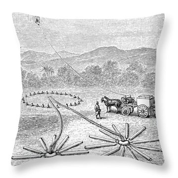 Hot Air Balloon Inflation Throw Pillow by Granger