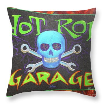 Throw Pillow featuring the painting Hot Rod Garage by Alan Johnson