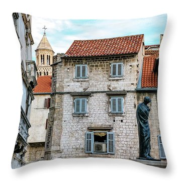 Houses And Cathedral Of Saint Domnius, Dujam, Duje, Bell Tower Old Town, Split, Croatia Throw Pillow