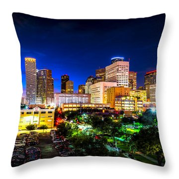 Throw Pillow featuring the photograph Houston City Lights by David Morefield