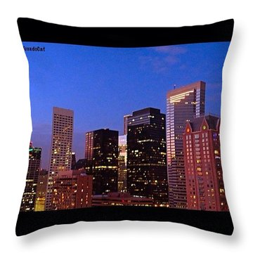 #houston #skyline At Dusk. #night Throw Pillow by Austin Tuxedo Cat