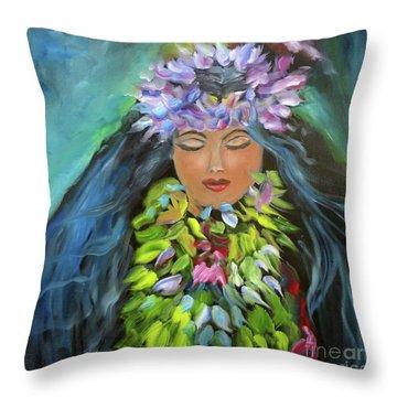 Hula Maiden Throw Pillow