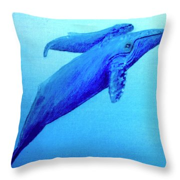 Humpback Mother Whale And Calf #21 Throw Pillow by Donald k Hall