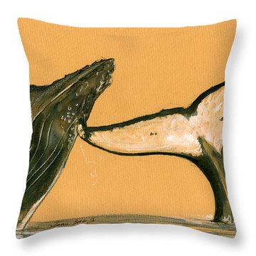 Humpback Whale Painting Throw Pillow
