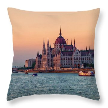 Hungarian Parliament Building In Budapest, Hungary Throw Pillow by Elenarts - Elena Duvernay photo