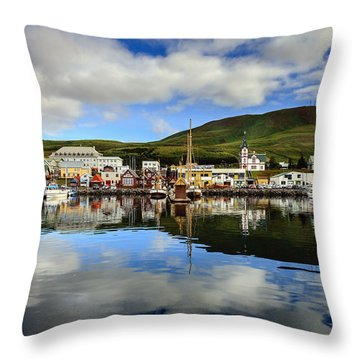 Husavik Harbor Throw Pillow by Alexey Stiop