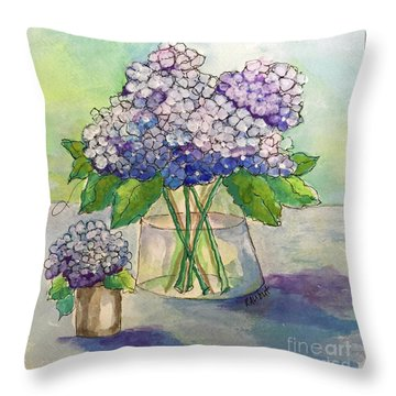 Throw Pillow featuring the painting Hydrangea  by Rosemary Aubut