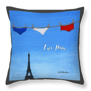 Throw Pillow featuring the painting I See Paris... by Will Bullas