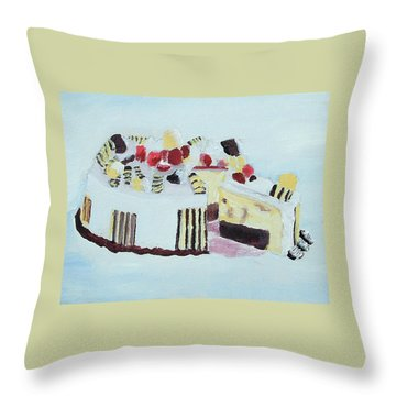 Ice Cream Cake Oil On Canvas Throw Pillow