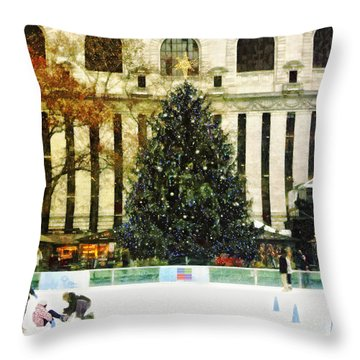 Ice Skating During The Holiday Season Throw Pillow by Nishanth Gopinathan