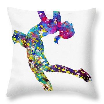 Ice Skating Girl-colorful Throw Pillow