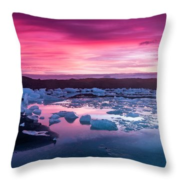Iceberg In Jokulsarlon Glacial Lagoon Throw Pillow by Joe Belanger