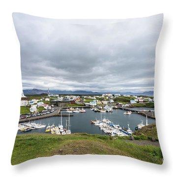 Iceland Fisherman Harbor Throw Pillow