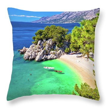 Idyllic Beach Punta Rata In Brela Aerial View Throw Pillow