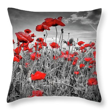 Idyllic Field Of Poppies With Sun Throw Pillow