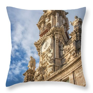 Throw Pillow featuring the photograph Iglesia De Los Santos Juanes Valencia Spain by Joan Carroll