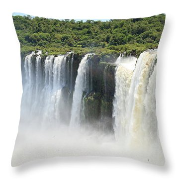 Throw Pillow featuring the photograph Iguazu Falls by Silvia Bruno
