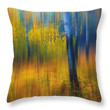 In The Golden Woods. Impressionism Throw Pillow