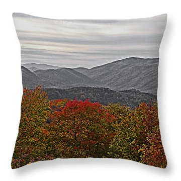 Infinite Smoky Mountains Throw Pillow by DigiArt Diaries by Vicky B Fuller