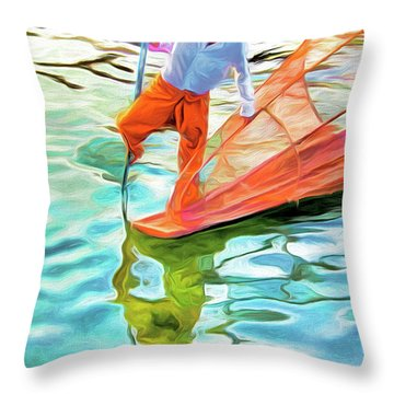 Inle Lake Leg-rower Throw Pillow by Dennis Cox
