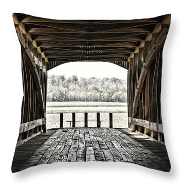 Inside The Covered Bridge Throw Pillow