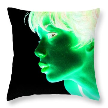 Inverted Realities - Green  Throw Pillow