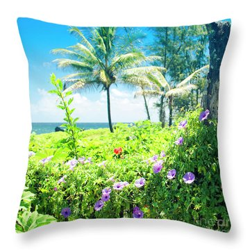 Throw Pillow featuring the photograph Ipomoea Keanae Morning Glory Maui Hawaii by Sharon Mau