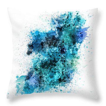 Ireland Map Paint Splashes Throw Pillow