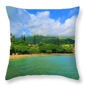 Island Of Maui Throw Pillow by Michael Rucker