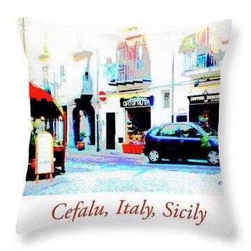Italian City Street Scene Digital Art Throw Pillow