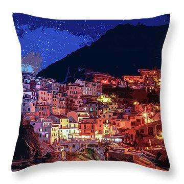 Italy, Manarola At Night Throw Pillow
