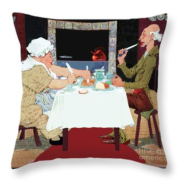 Jack Sprat Vintage Mother Goose Nursery Rhyme Throw Pillow