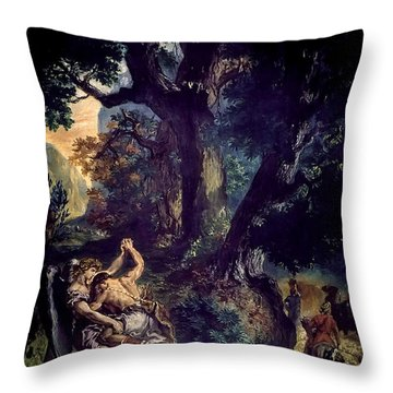 Jacob Wrestling The Angel Throw Pillow