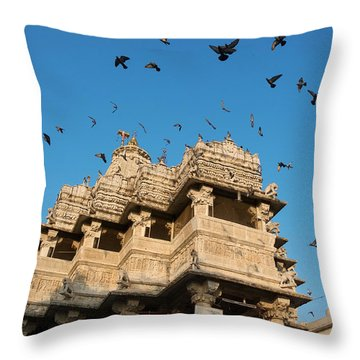 Throw Pillow featuring the photograph Jagdish Temple by Yew Kwang