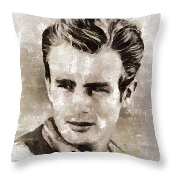 James Dean Hollywood Legend Throw Pillow by Mary Bassett