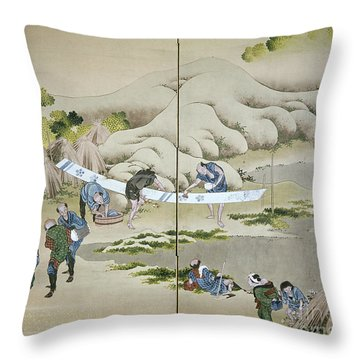 Japan: Cotton Processing Throw Pillow by Granger
