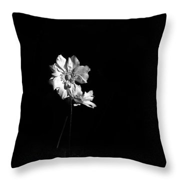Japanese Anemone In Black And White Throw Pillow