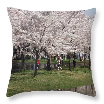 Japanese Cherry Blossom Trees Throw Pillow by April Sims