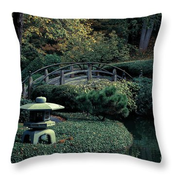 Throw Pillow featuring the photograph Japanese Garden In Summer by Iris Greenwell