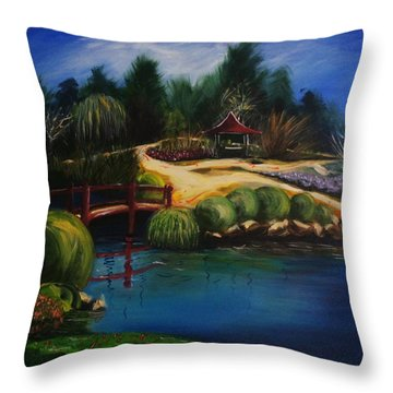Japanese Gardens - Original Sold Throw Pillow