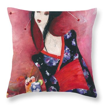 Japanese Girl Throw Pillow