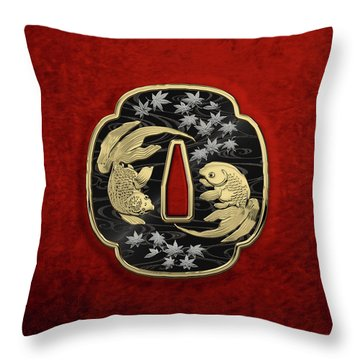 Japanese Katana Tsuba - Twin Gold Fish On Black Steel Over Red Velvet Throw Pillow