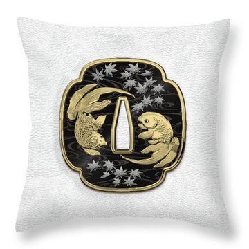 Japanese Katana Tsuba - Twin Gold Fish On Black Steel Over White Leather Throw Pillow