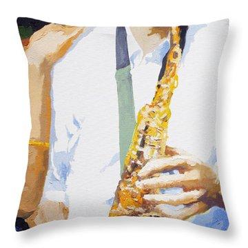 Jazz Muza Saxophon Throw Pillow by Yuriy  Shevchuk