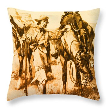 J.c. Fremont And His Guide, Kit Carson Throw Pillow by Photo Researchers