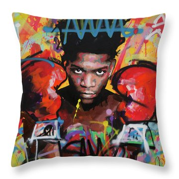 Throw Pillow featuring the painting Jean Michel Basquiat by Richard Day