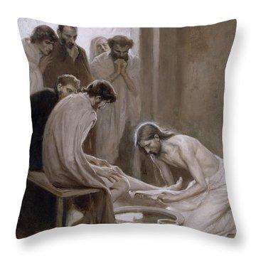 Jesus Washing The Feet Of His Disciples Throw Pillow
