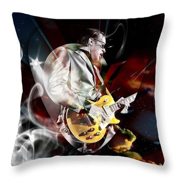 Joe Bonamassa Blue Guitarist Art Throw Pillow by Marvin Blaine